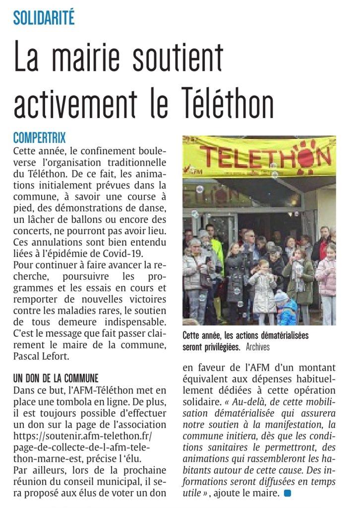 Article journal Compertrix soutient le telethon