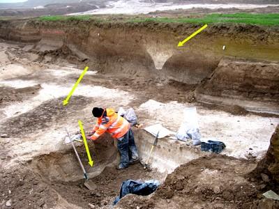 Tracé fossé et fosses mésolithiques et néolithiques